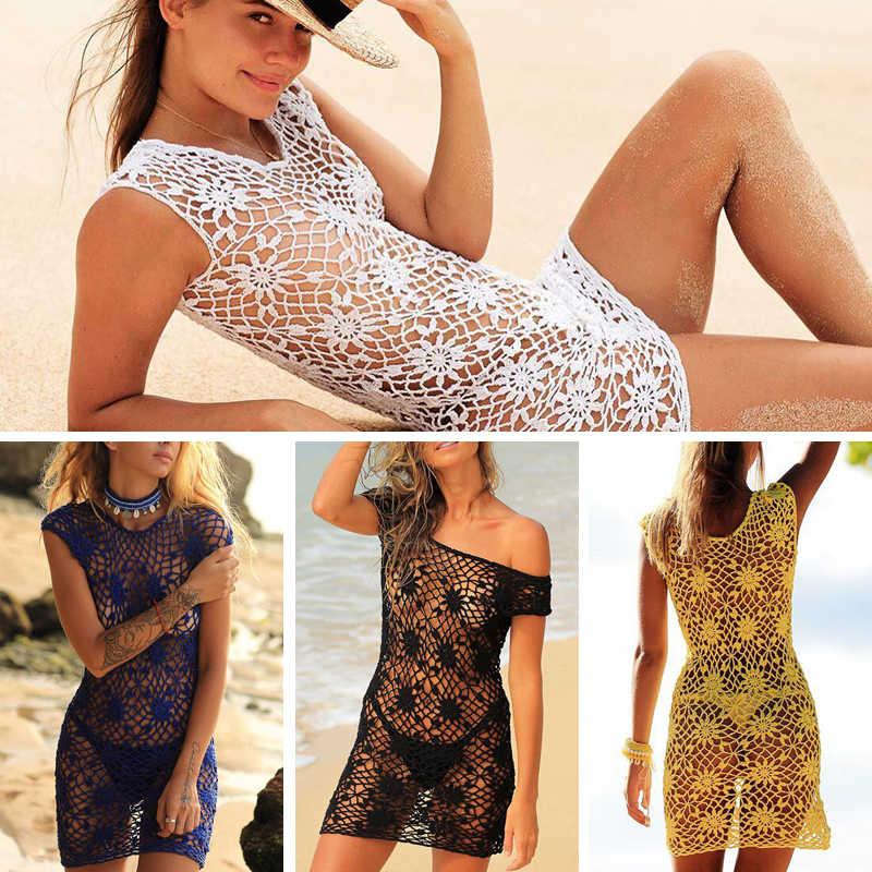 bdda469b9 2018 New Arrival Sexy Women Bathing Suit Hollow-out Crochet Bikini Cover Up Swimwear  Summer