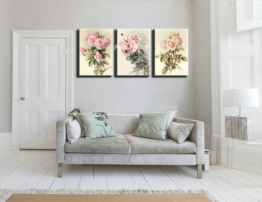 triptych Cheap modern canvas prints rose drawing picture large