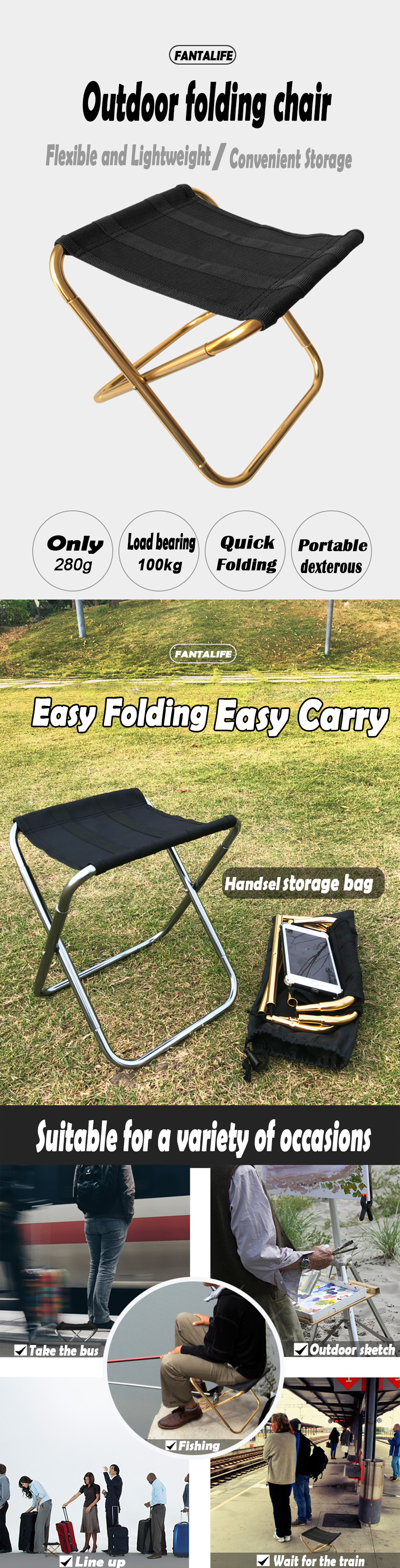 Folding Fishing Chair Lightweight Picnic Camping Chair Foldable Aluminium Cloth Outdoor Portable Easy To Carry Outdoor Furniture