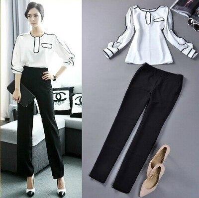 Женщины одежда комплект 2 пк костюмы верхний + брюки женщина рабочий рубашка блузка + брюки официальный общая белый черный