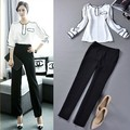 2015 New women clothing set 2pc suits top+pants woman work wear shirt blouse+trousers formal plus size overall White Black