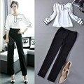 2015 nueva ropa de las mujeres 2 unid trajes top + pantalones mujer ropa de trabajo camisa blusa + pantalones tamaño formal , más general blanco negro