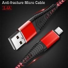 Micro USB Câble charge rapide USB câble de données Nylon câble de synchronisation Pour Samsung Huawei Xiaomi Andriod micro USB téléphone Flexible Câble