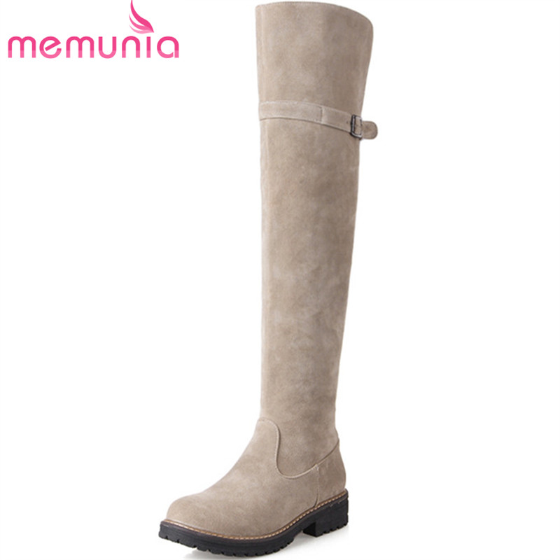MEMUNIA Over the knee boots college style fashion shoes in autumn winter flock zip womens boots med heels big size 34-43 memunia 2017 fashion flock spring autumn single shoes women flats shoes solid pointed toe college style big size 34 47
