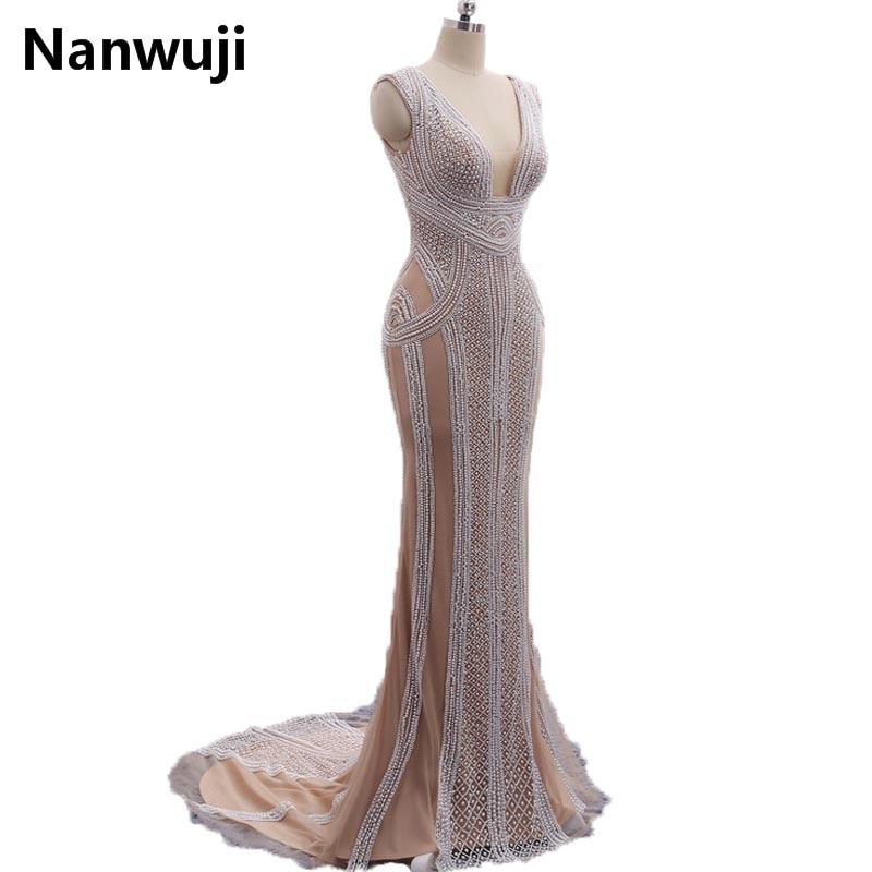 Instock Mermaid Abiye Uzun 2017 Yeni Derin V Yaka Kapaklı Kollu ile - Özel Günler Için Elbise - Fotoğraf 5