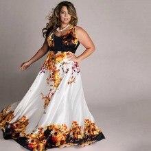 2016 Amazing casual style sleeveless natural waist o neck floor length X 6xL women print long
