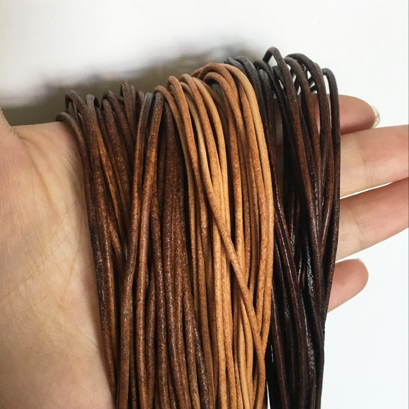 Each-Piece Round Black Genuine-Leather Brown Cord-3m Natural