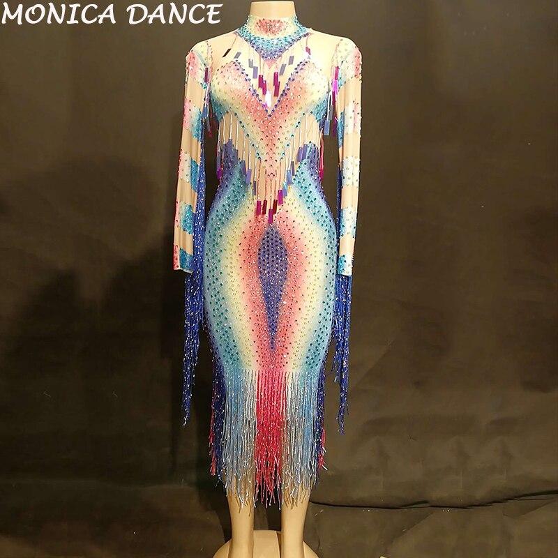 Femmes Sexy Net fil longue robe colorée Bling gland Paillettes scintillantes cristaux discothèque fête scène porter des Costumes de danse