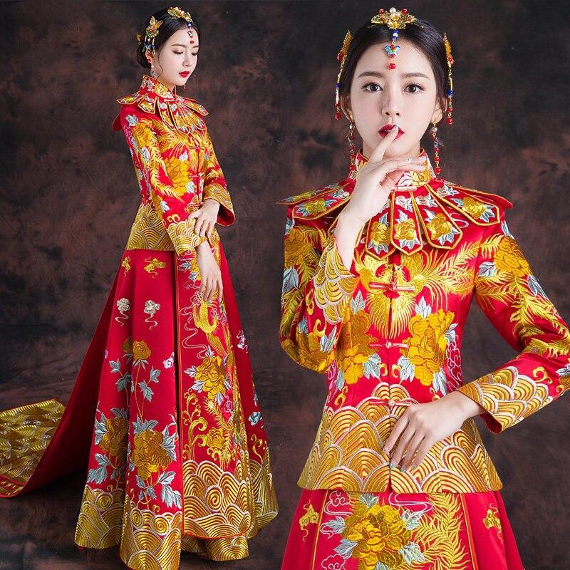 Vintage stile Cinese del vestito convenzionale reale da sposa fenice cheongsam costume rosso della sposa tradizionale vestito di linguetta Del Ricamo Qipao Nuovo