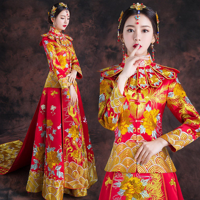 vintage Chinese style formal dress royal phoenix wedding cheongsam costume red bride traditional Tang suit Embroidery Qipao New