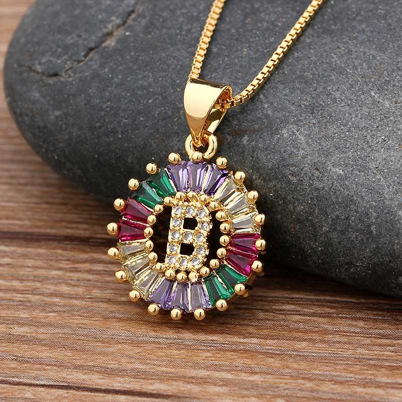Hot Sale Gold Color Initial Multicolor CZ Necklace Charm Letter Necklace Name Jewelry For Women Accessories Girlfriend Gift