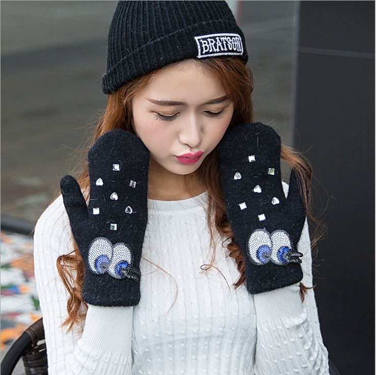 GLV970 female cute winter font b gloves b font with thick warm wool and rabbit fur
