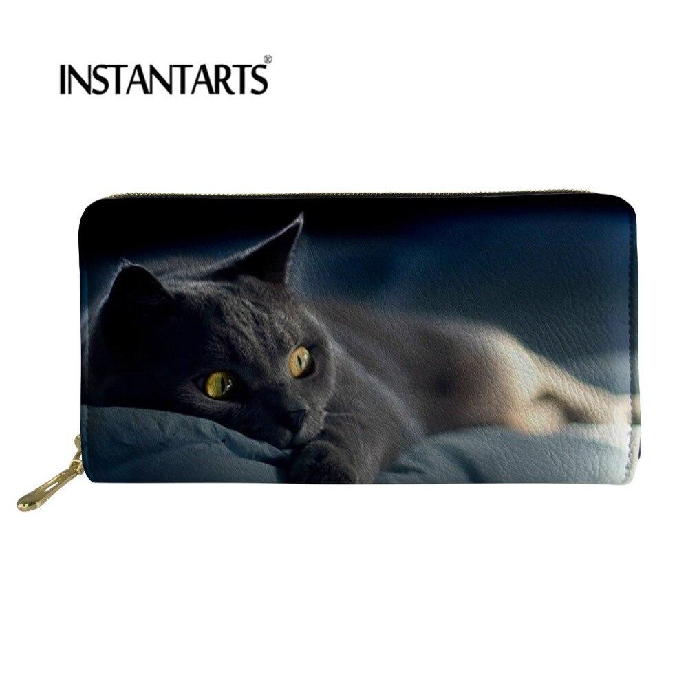 INSTANTARTS Cute Black Cats Animals Pattern Women Purse Long Zipper Wallets Leather Woman Wallet Money Storage Cases Card Holder