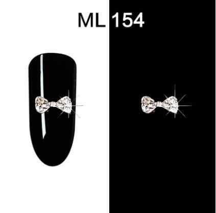 10 pcs/pack breloques Art des ongles arc strass alliage 3D charme ongles cristal strass alliage argent/rouge gemmes charme art des ongles Decorat