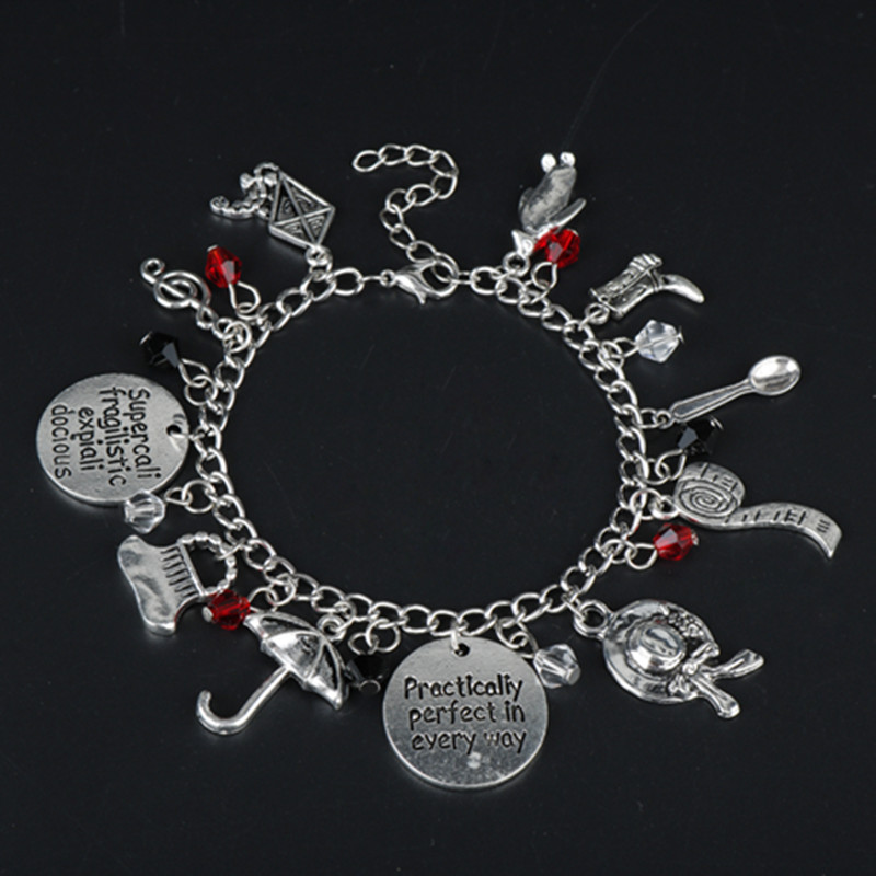 New Fashion Style Mary Poppins Charms Bangles Bracelets for Women Accessories Movie Jewelry Romantic Bracelet image