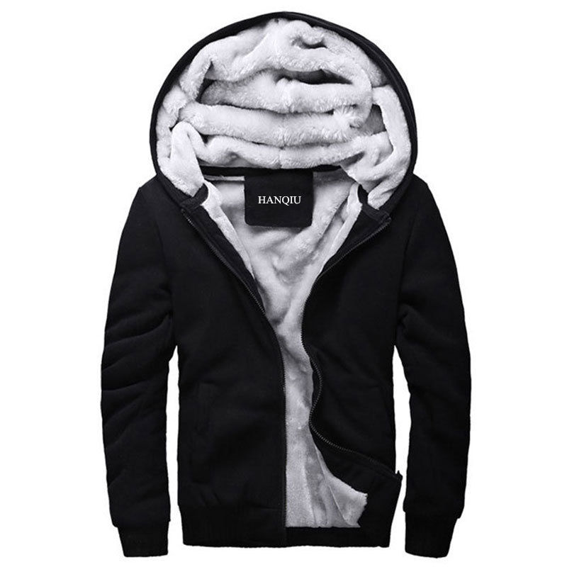 Black Hoodies Men 2019 Winter Jacket Fashion Thick Men's Hooded Sweatshirt Male Warm Fur Liner Sportswear Tracksuits Mens Coat