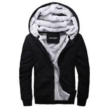 7faacd8667a Черный толстовки для мужчин 2019 зимняя куртка модные толстые толстовка с  капюшоном мужской теплый мех животных