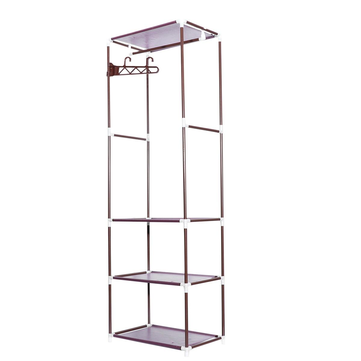 Bathroom Fixtures Bathroom Shelves 1pcs Portable Clothes Rack Organizer Bedroom Garment Floor-standing Shelf Clothing Coat Rack Storage Stand