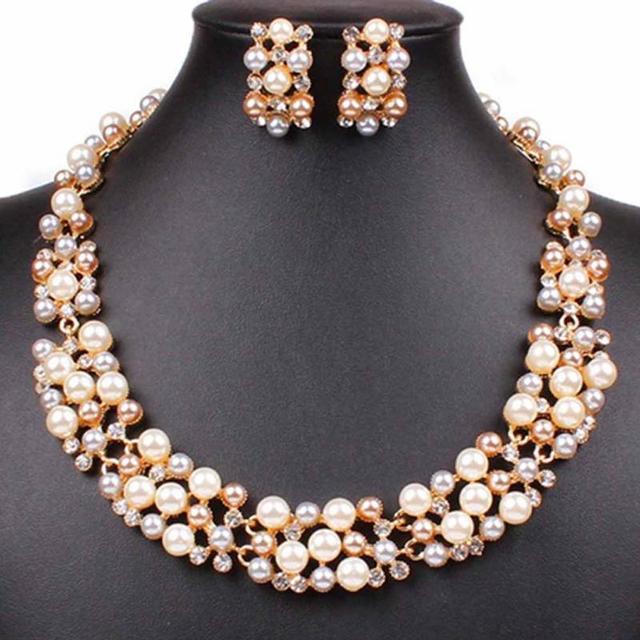 72e05cc62897 Nueva señoras para mujer joyería conjuntos oro de Rose plateado imitación  de la perla pendientes cristalinos