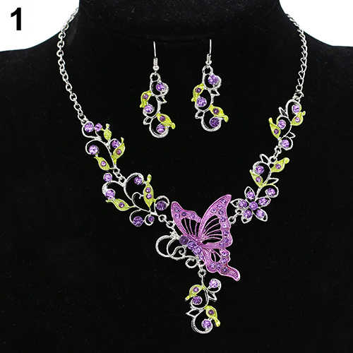 chic Lady Bridal Vinatge Butterfly Flower Bib Statement Necklace Earrings Jewelry Set