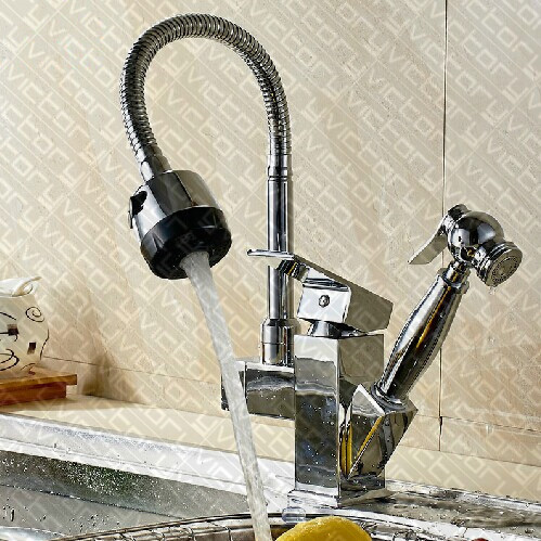 ФОТО Single handle kitchen faucet Chrome Finish Solid Brass Kitchen Sink Faucet Single Handle Pull Out Spray kitchen mixer sink taps