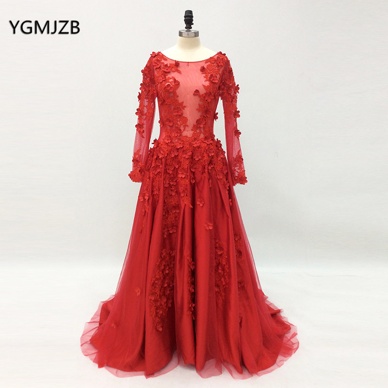Real Photos 2018 Long Sleeves Evening Dress 3d Flower Lace Sheer Red