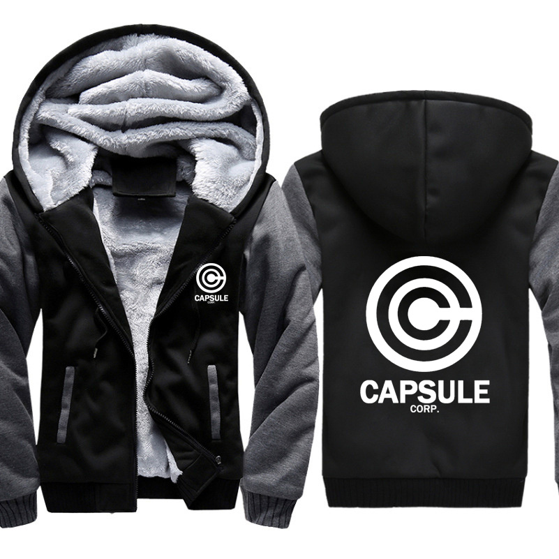 Anime Dragon Ball Z Capsule Corp Print Hoodies Men Sweatshirts Winter Warm Thicken Fleece Zipper Coat Jacket Harajuku Hoody Male