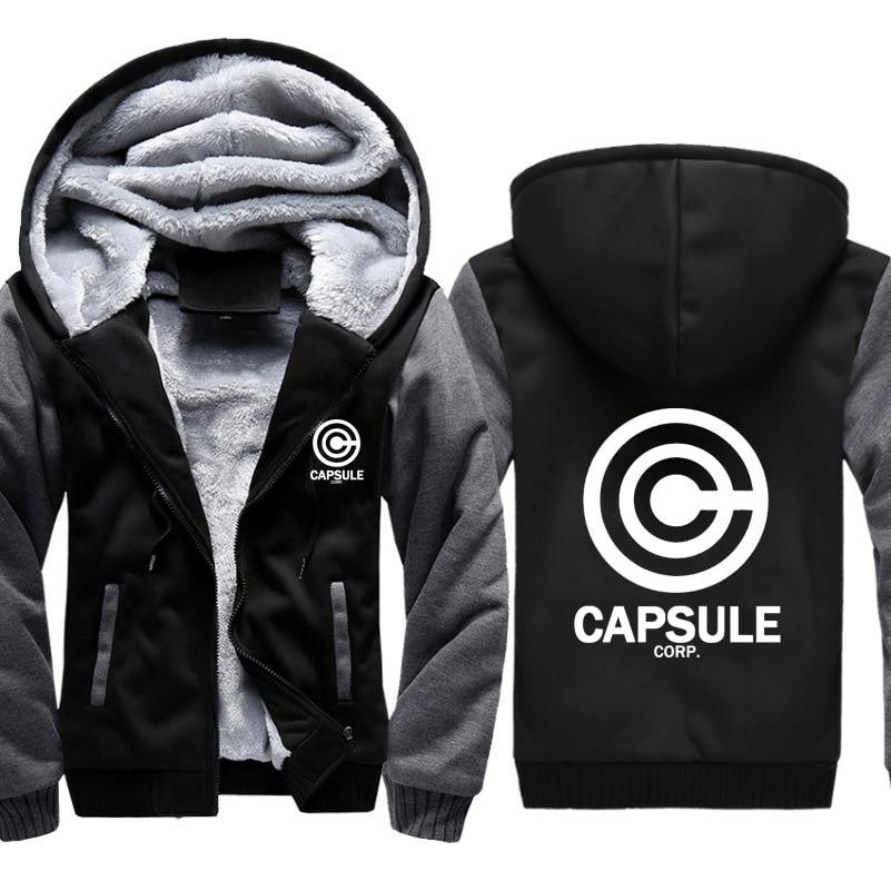 Anime Dragon Ball Z Capsule Corp Print Hoodies Men Sweatshirts Winter Warm Thicken Fleece Zipper Coat Jacket Harajuku Hoody Male