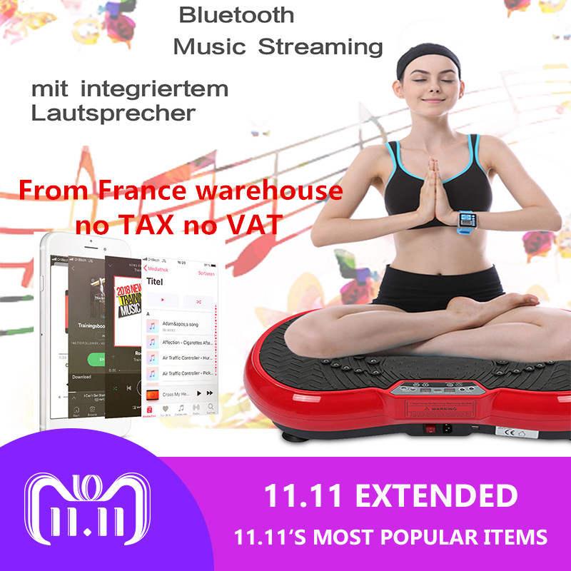 Fitness Exercise Body Vibration Machine Trainer Weight Plate Platform Body Shaper with Resistance Bands+ remote control HWC besgo crazy fit massage vibration plate exercise vibration plate machine vibration plate oscillating with music remote