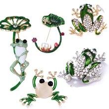 Стразы, зеленая брошь с дизайном «лягушка», унисекс, Милая брошь булавка в виде животного, Женское и мужское платье, пальто, аксессуары, высокое качество, Orna, для мужчин