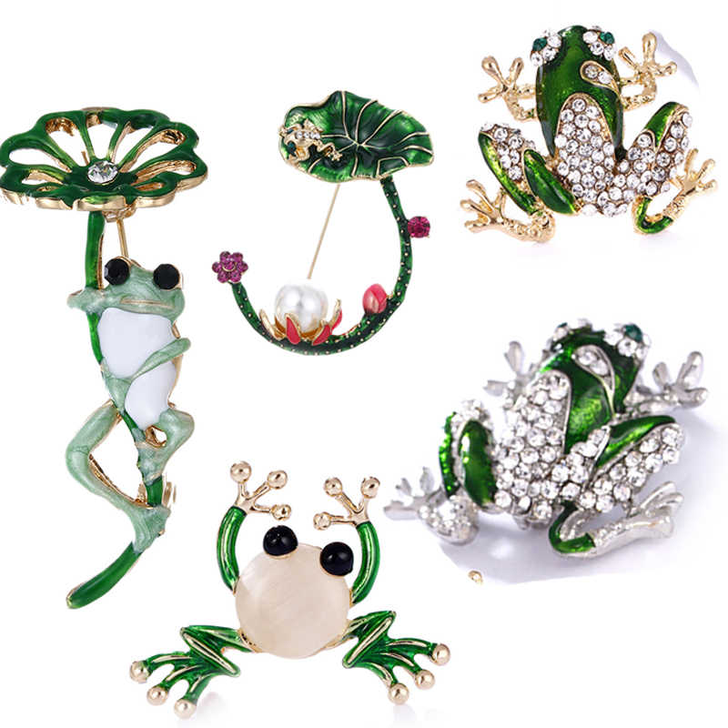 Rhinestone Green Frog Brooch Unisex Cute Animal Brooch Pin Women Men Dress Coat Accessories High Quality Ornament