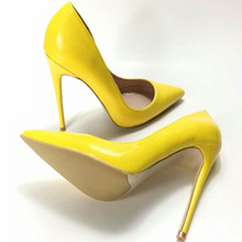 Keshangjia ew Spring 2018 Women Pumps Brand Shoes Woman UltraThin High Heel Pointed Toe Patent Leather Shoes Lady Pumps