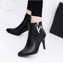 2019 Female Stiletto Spring Autumn Ankle Boots Pointed Toe Zipper Ladies Thin High Heels Pump Fashion Sexy Elegant Women Shoes(China)