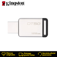 Kingston Technology DataTraveler DT50 128 GB USB 3.0 (3.1 Gen 1) USB Type A connector Capless, Black, Silver Metal material usb