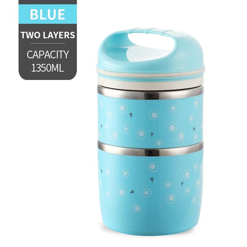 Милые детские Термальность Коробки для обедов герметичность Нержавеющая сталь Bento box для детей Портативный Пикник школа Еда контейнер Box - Цвет: NO. Blue 2 Layer