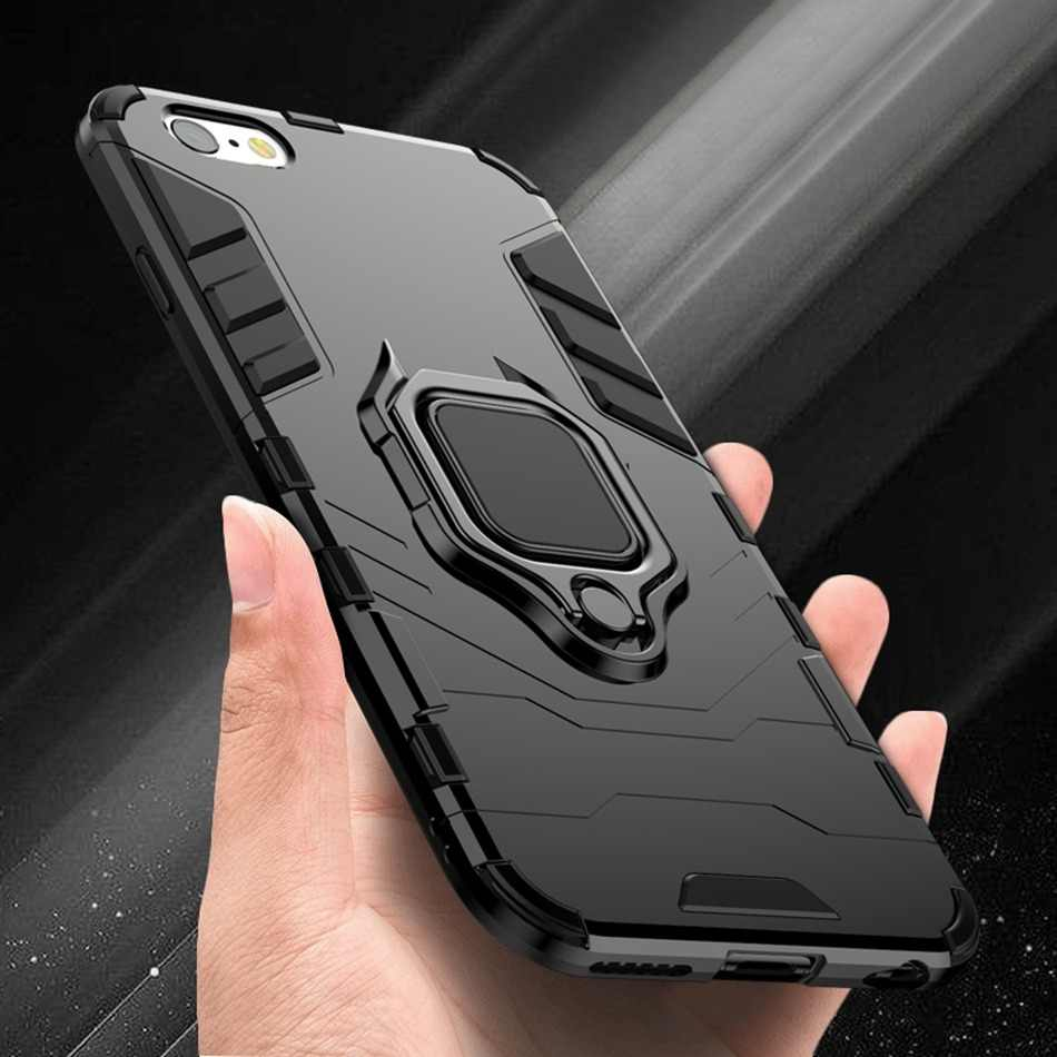 KISSCASE Shockproof Case For iPhone 6 6S 7 8 Plus XS Case For iPhone X 5 5S Se XS Xs Max XR Finger Ring Holder Phone Cover Coque
