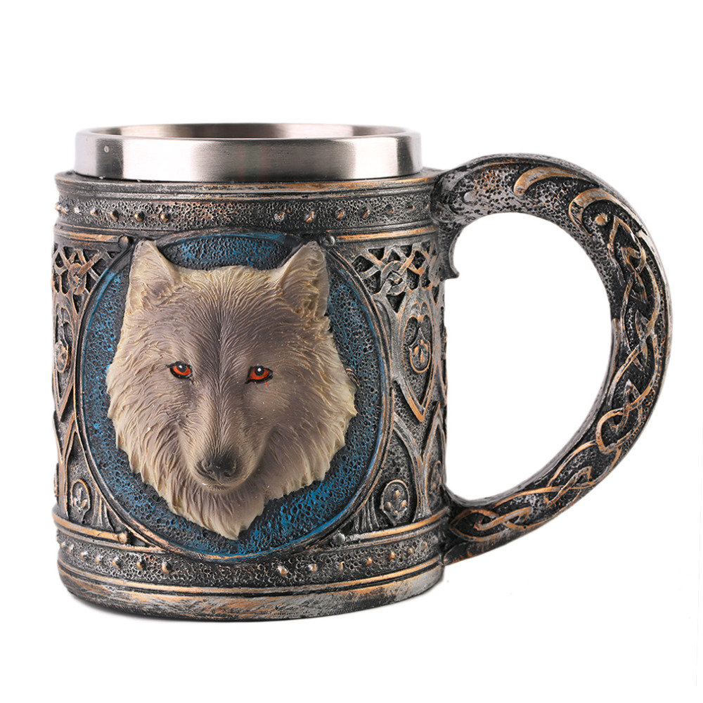 Super Deal Wolf Head Pattern Mug Coffee Milk Tea <font><b>Cup</b></font> Drinkware Vessel <font><b>Universal</b></font> Water Bottle For Birthday Christmas Gift