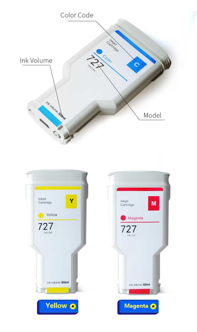 Aomya HP 727 300ML תואם מחסנית דיו עבור HP DesignJet HP T920 T2500 T930 T1530 T2530 T1500 מדפסת (PBK C M Y GY MBK)
