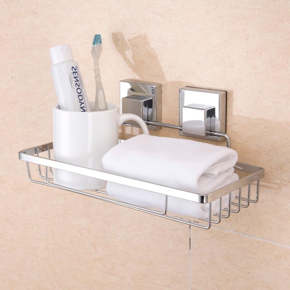 ANHO Sucker Storage Rack For Shampoo Shower Toilet Wall Holder Drain Bath Suction Cup Basket Shelf Corner Kitchen Bathroom Tool