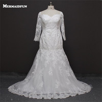 2018 Real Photos Mermaid Plus Size Long Sleeve Beaded Lace Sweetheart Wedding Dresses Large Size Bridal Gown