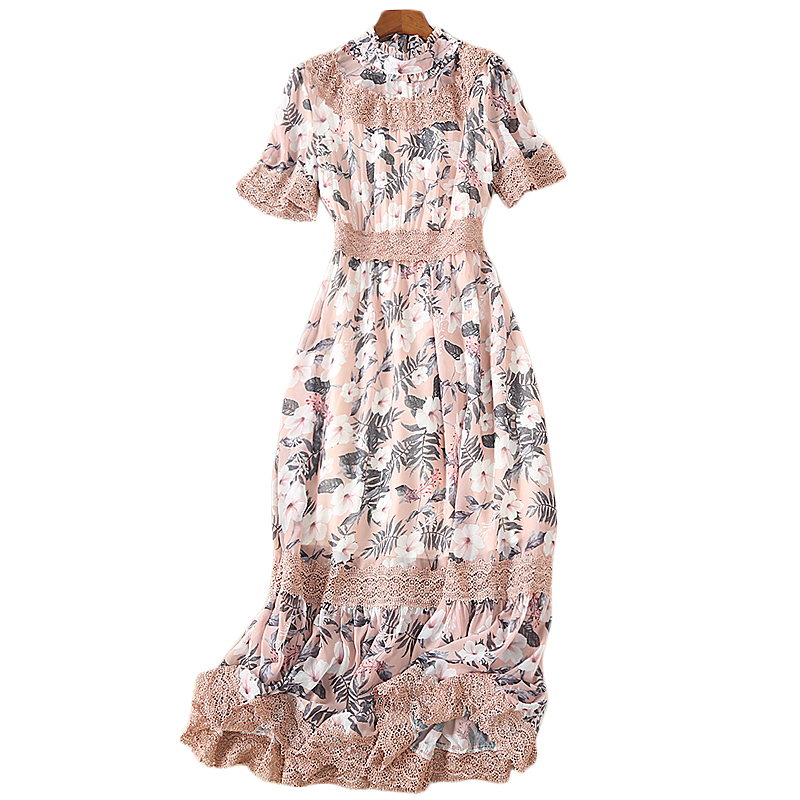 018 High Quality Fashion Designer Summer Vintage Women'S Party Ruffled Neck Short Sleeves Lace Paneled Floral Rose Printed Dress