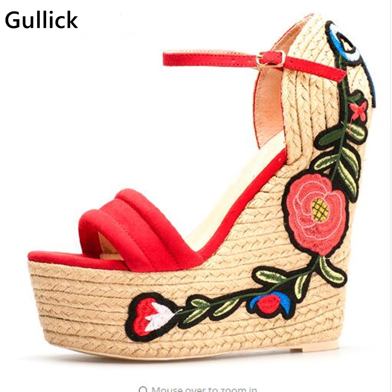 Gullick Floral Embroidery Braided Super High Wedges Platform Sandals For Woman Sexy Peep Toe Buckle Strap Prom Wedding Shoe floral patch detail peep toe sliders