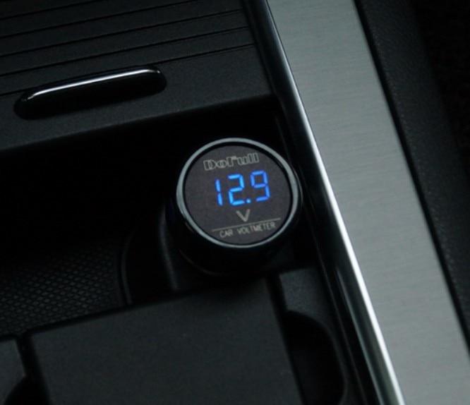DC 12V 24V 36V Digital Voltmeter Plug Blue Volt Meter Car Boat Cigarette Lighter Socket