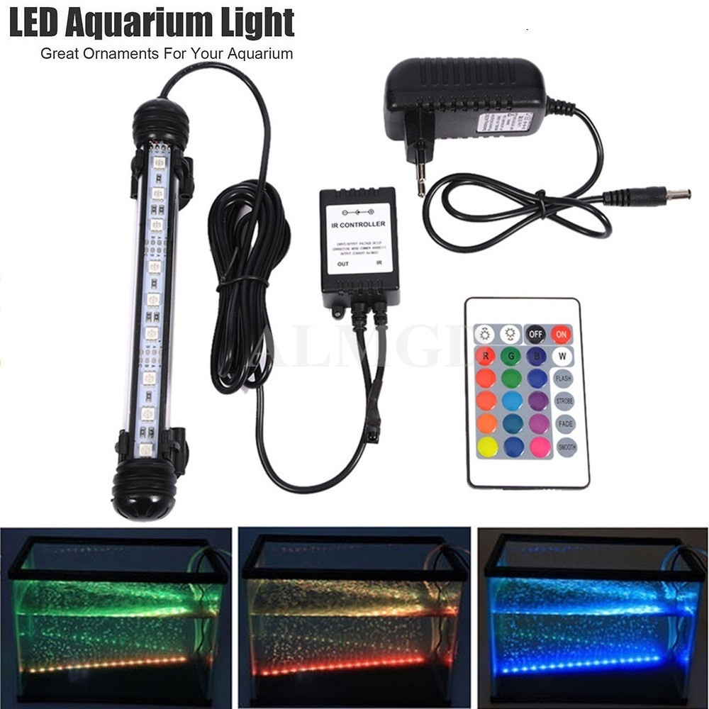 RGB LED Aquarium Light Fish Tank Waterproof IP68 5050 SMD LED Bar Light Lamp Submersible Remote EU US Plug 18CM 28CM 38CM 48CM 18cm 30cm aquarium led strip bar light tube 1w 2 4w waterproof submersible fish tank lamp smd5050 white blue decor lighting