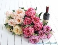 1 개 인공 5 꽃 큰 모란 실크 꽃 웨딩 꽃다발 홈 장식 선물 F395