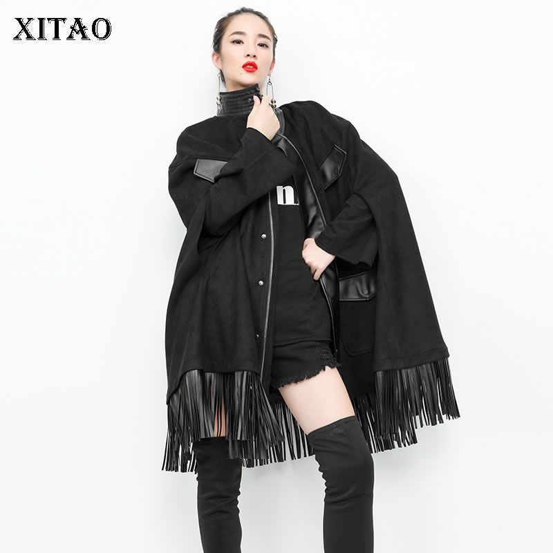 [XITAO] Korea Fashion New Women 2019 Autumn Turtleneck Sleeveless   Trench   Female Batwing Sleeve Solid Color Casual   Trench   LJT4025
