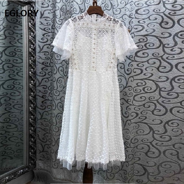 Top Quality Dress 2019 Spring Summer Fashion Evening Party Lace Dresses Women Allover Crochet Lace Embroidery Short Sleeve Dress