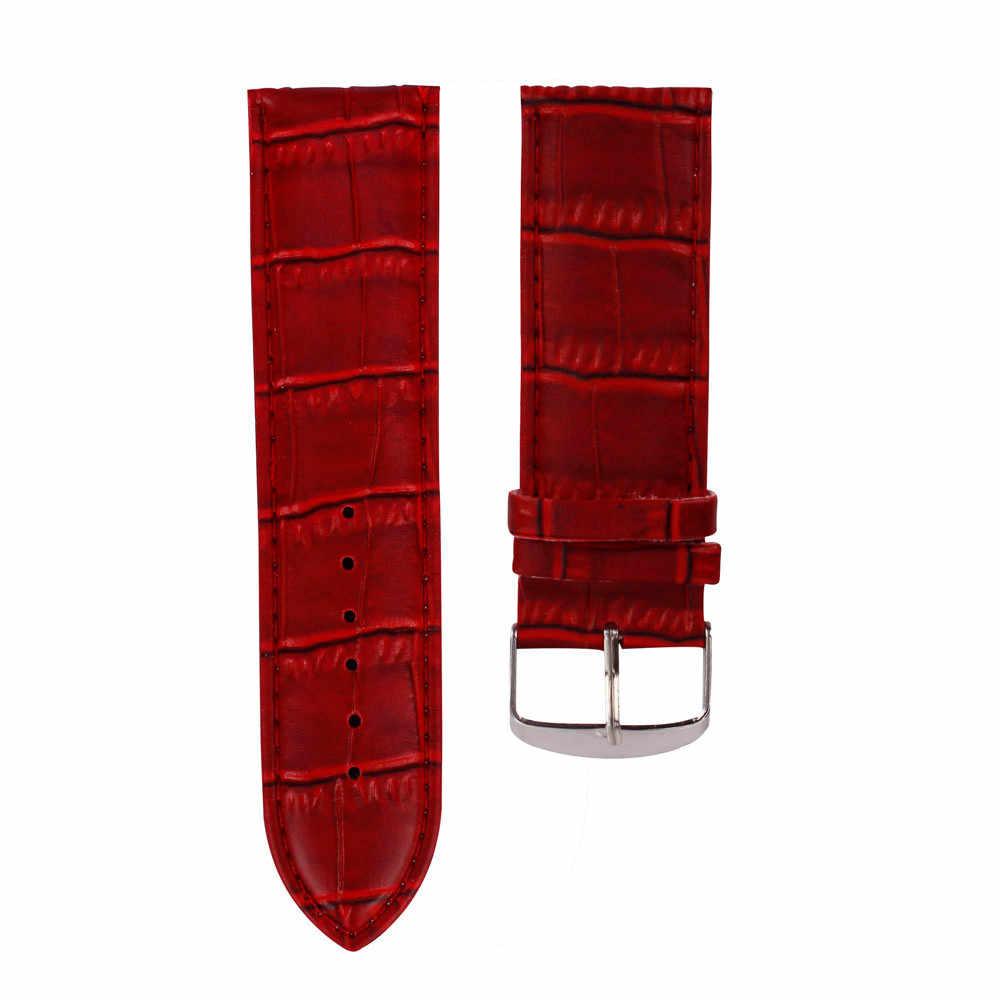 Hot Sale2016 Colorful 14mm/16mm/18mm/20mm/22mm/24mm/26mm di Alta Qualità Sweatband Molle del Cuoio Bracciale Acciaio Fibbia Da Polso Cinturino