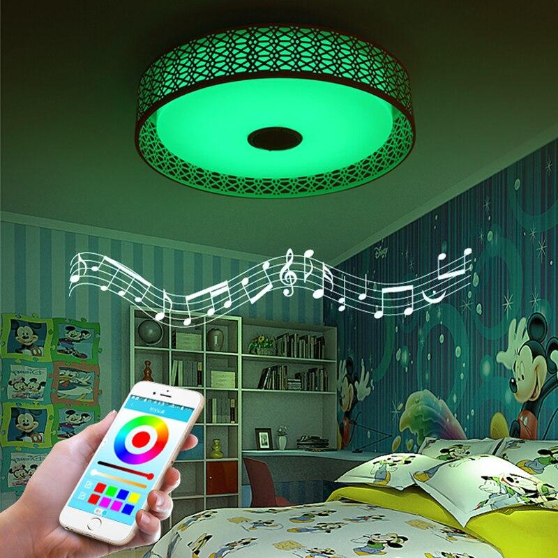 Haut parleur Bluetooth moderne LED plafonnier télécommande RGB LED lampe de musique Dimmable lampe d'éclairage de salon APP intelligente - 4