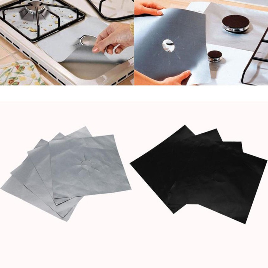 ISHOWTIENDA 4Pcs Reusable Foil Gas Hob Range Stovetop Burner Protector Liner Cover For Cleaning Kitchen Tools ...